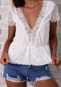 White Patchwork Lace V-neck Short Sleeve Fashion Blouse