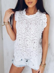 White Patchwork Lace Ruffle Cut Out Buttons Round Neck Sweet Blouse