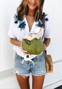 White Flowers Print Knot Elbow Sleeve V-neck Casual Blouse