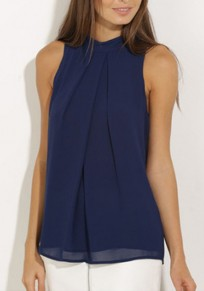 Navy Blue Pleated Cut Out Plus Size Going out Casual Chiffon Blouse