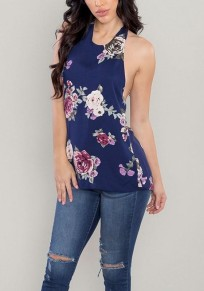 Blue Floral Tie Back Backless Fashion Blouse