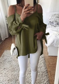 Army Green Condole Belt Knot Long Sleeve V-neck Blouse Blouse