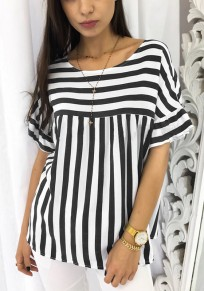 Black Striped Round Neck Short Sleeve Casual Blouse