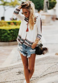 White Floral Embroidery Lace-up V-neck Oversize Chiffon Bohemian Blouse
