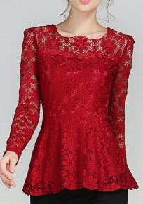 Burgundy Lace Cut Out Plus Size Elegant Office Worker/Daily Blouse