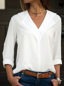 White Draped V-neck Long Sleeve Giong out Casual Blouse