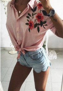 Pink Flowers Print Buttons Knot Short Sleeve Fashion Blouse