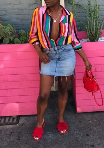 Pink Striped Single Breasted Rainbow Deep V-neck Casual Blouse