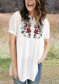White Floral Embroidery Single Breasted Pleated Round Neck Mexican Casual Blouse