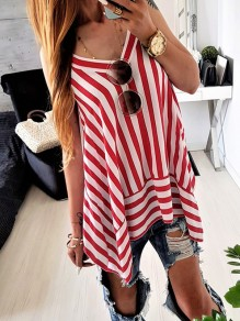 Red Striped Spaghetti Strap Draped Irregular V-neck Fashion Blouse