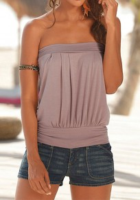 Coffee Bandeau Off Shoulder Backless Casual Vest