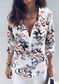 White Flowers Print Single Breasted Long Sleeve Blouse