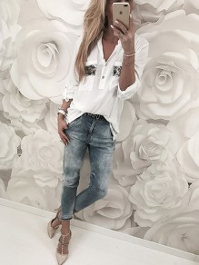 White Patchwork Sequin Pockets Buttons Casual Blouse