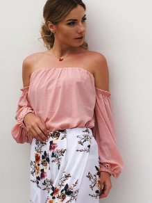 Pink Bandeau Boat Neck Three Quarter Length Sleeve Casual Blouse