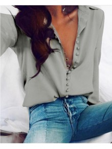 Grey Plain Buttons Long Sleeve Turndown Collar Blouse