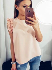 Pink Ruffle Short Sleeve Round Neck Sweet Going out Blouse