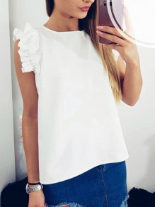 White Ruffle Short Sleeve Round Neck Sweet Going out Blouse