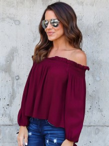 Red Draped Boat Neck Off Shoulder Long Sleeve Casual Blouse