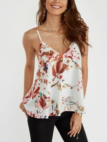 White Floral Print Condole Belt V-neck Fashion Blouse