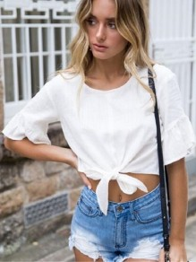 White Ruffle Bow Round Neck Elbow Sleeve Sweet Blouse
