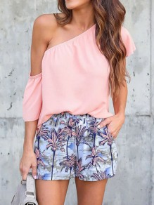 Pink Asymmetric Shoulder Chiffon Casual Going out Blouse