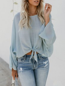 Light Blue Bow Round Neck Fashion Blouse