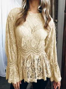 Yellow Lace Patchwork Round Neck Long Sleeve Fashion Blouse