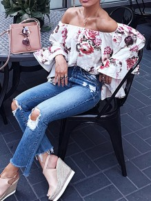 White Floral Print Ruffle Off Shoulder Bandeau bell sleeve Boho Casual Blouse