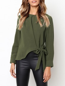 Green Bow Round Neck Long Sleeve Fashion Blouse