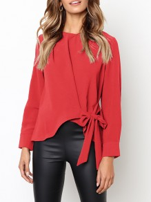 Red Bow Round Neck Long Sleeve Fashion Blouse