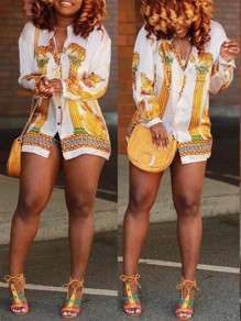 White Tribal Floral Print Single Breasted Turndown Collar African Casual Blouse