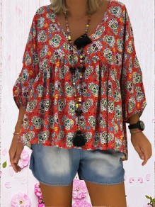 Red Skull Print V-neck Casual Blouse