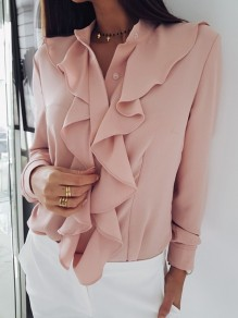 Pink Single Breasted Ruffle Long Sleeve Fashion Blouse