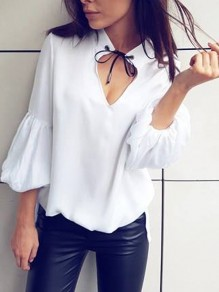 White Cut Out Lace-up 3/4 Sleeve Casual Blouse