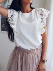 White Patchwork Lace Ruffle Short Sleeve Casual Blouse