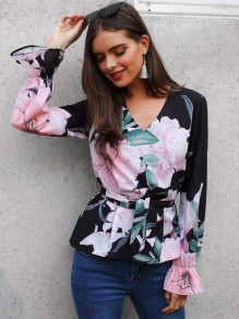 Black Floral Ruffle Bow V-neck Long Sleeve Casual Blouse