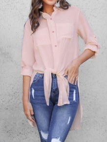 Pink Single Breasted Double Slit Pockets Casual Blouse