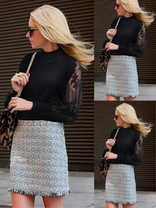 Black Patchwork Lace Print Round Neck Fashion Going out Blouse