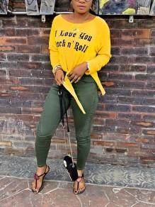 "Yellow ""I LOVE YOU ROCK'N ROLL"" Print Knot High-Low Long Sleeve Casual T-Shirt"
