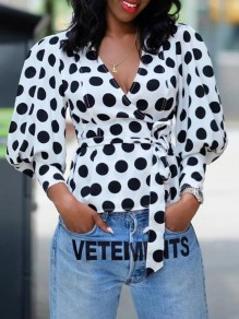 White Polka Dot Sashes Deep V-neck Lantern Sleeve Elegant Office Worker Blouse