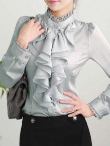 Grey Patchwork Lace Buttons Ruffle Band Collar Casual Chiffon Blouse