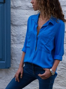 Blue Pockets Turndown Collar Casual Chiffon Blouse