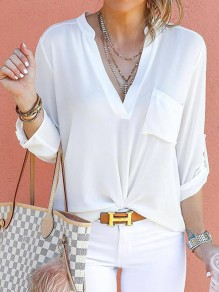 White Pockets Deep V-neck Long Sleeve Fashion Blouse