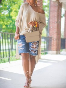 Apricot Asymmetric Shoulder Knot Side Slits High-Low Casual T-Shirt