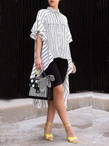 White-Black Striped Ruffle Single Breasted High-Low Irregular Casual Blouse