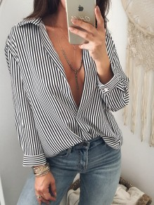 Black Striped Deep V-neck High-Low Turndown Collar Long Sleeve Casual Blouse