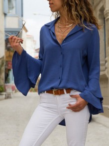 Dark Blue Ruffle Buttons Turndown Collar Long Sleeve Fashion Blouse