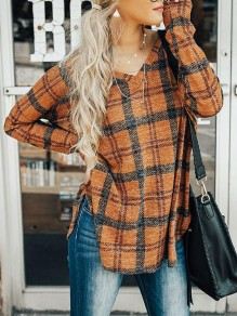 Yellow Plaid Slit Irregular V-neck Long Sleeve Casual Blouse
