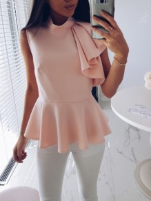 Pink Ruffle Irregular Band Collar Fashion Going out Blouse