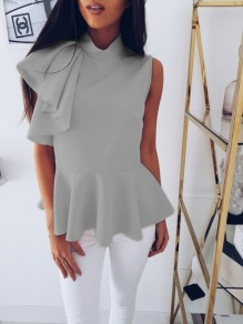 Grey Ruffle Irregular Band Collar Fashion Going out Blouse